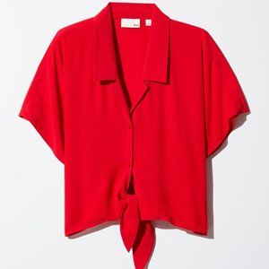 Aritzia Wilfred Free Red Tie Front Huang Blouse L